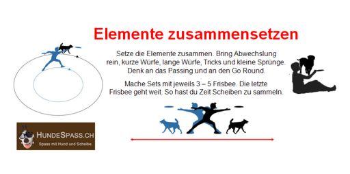 Hundefrisbee Elemente zusammen setzen